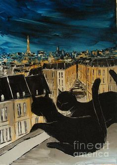 Black Cat With His Pretty On Paris Roofs by Atelier De Jiel