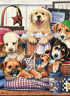Trademark Global Jenny Newland 'Suds and Pups' Canvas Art, 14 x 19 Little Puppies, Cute Puppies, Cute Dogs, Animals Images, Animals And Pets, Cute Animals, Puppy Play, Dogs Golden Retriever, Cross Paintings