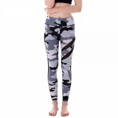 Gray Camouflage with Black Mesh Patchwork Women's Leggings Printed Yoga Pants Workout $28.99 + FREE Shipping Worldwide
