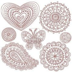 Hand-Drawn Henna (mehndi) Heart, Flower, Butterfly, and Paisley Doodle Illustration Design Elements