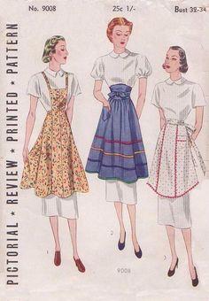1930's Pictorial Review Pellon Replica Bib Half Apron Pattern 9008 Sz 32-34 #PictorialRevueReplica #slimfitsmall