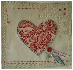 heart appliqued to vintage linen-must try!