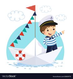 Boy in sailor costume standing in a paper boat Vector Image Kids Background, Background Drawing, Nautical Cards, Nautical Theme, Desenho Kids, Sailor Illustration, Costume Marin, Kids Boat, Sailor Theme