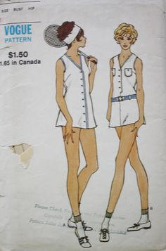 Tennis Dress Sewing Pattern and Briefs Vogue 8029 Bust 34 by BluetreeSewingStudio on Etsy