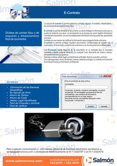 La solución E-contrato le permite gestionar contratos seguros, inviolables, infalsificables y sin necesidad de almacenamiento físico. E-contrato le permite encriptar el documento, es decir proteger…