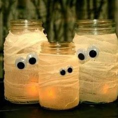 #mtarhalloweendecor Glass canning jars Paint Brush Medical gauze Mod Podge or other crafting glue Googly eyes Directions: 1. Pick a jar: Choose something like a pickle or baby food jar. Wash and dry it well, being sure to remove any outside labels. 2. Coat the surface: Use a paintbrush to apply a thin layer of mod podge or other crafting glue to the outside of the jar. 3. Wrap it up: Begin to wrap gauze starting at the bottom and working up. Add more mod podge between layered strips (make…