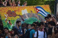 Jóvenes contra el bloqueo en La Universidad de La Habana, Cuba