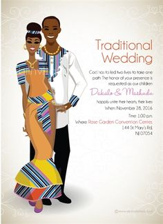 African Traditional Wedding Dress, African Wedding Dress, White Wedding Dresses, Wedding Invitation Card Wording, Invitation Cards, Order Of Wedding Ceremony, Electronic Invitations, South African Weddings, Traditional Wedding Invitations