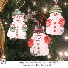 Adorable printable Snowmen Animated Paper Ornaments.  Attach arms and bodies to the faces with a tiny orange brad mounted on the carrot nose.  Add glitter for especially festive ornaments!  makes great gift tags!  Kids will love making these crafts!  Gina Jane Designs - DAISIE Company