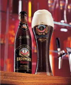 The Germans call wheat beers 'Weissbier' or 'white beer'. As such, Weissbier Dunkel suggests a contradiction because it means 'the dark, white beer'. 'Erdinger Dunkel' pours out as dark, brown ale, but, when tasted, is surprisingly light and refreshing. This is because it's made of malted wheat and not barley
