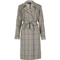 TOPSHOP Check Trench Coat ($50) ❤ liked on Polyvore featuring outerwear, coats, jackets, topshop, coats & jackets, grey, cotton trench coat, trench coat, gray coat and cotton coat