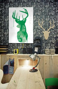 Inspiration for a transitional home office space. #CreativeWallFinishes