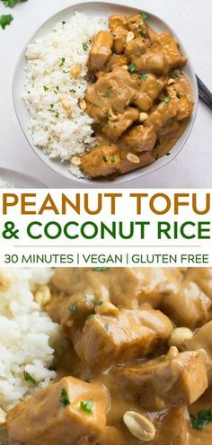 is all it takes to make the most delicious Peanut Tofu with Coconut Rice! Made with crispy baked tofu, peanut butter and Minutes is all it takes to make the most delicious Peanut Tofu with Coconut Rice! Made with crispy baked tofu, peanut butter and more! Veggie Recipes, Chicken Recipes, Cooking Recipes, Healthy Recipes, Rice Vegan Recipes, Tofu Dinner Recipes, Tofu Meals, Vegetarian Recipes Tofu, Vegan Recipes Asian