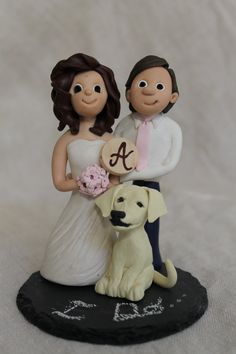 SPLURGE!! Custom Bride and Groom Wedding Cake Topper with Dog and Flower Girl or Ring Bearer - also includes a natural slate chalkboard base