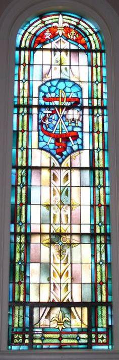 Stained Glass Windows at Moffett Memorial Baptist Church in Danville, VA