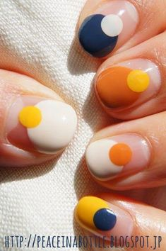 Multicolored nail art: grab the rainbow with a manicure! Nail art multicolor: ¡hazte con el arcoiris a golpe de manicura! Multicolored nail art: grab the rainbow with a manicure! Minimalist Nails, Diy Nails, Cute Nails, Pretty Nails, Yellow Nail Art, White Nail, Yellow Nails Design, Orange Design, Cute Nail Art Designs