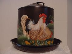 VINTAGE CHICKEN FEEDER WATER CAN ROOSTERS BARNS HAND PAINTED FOLK ART BY JMD