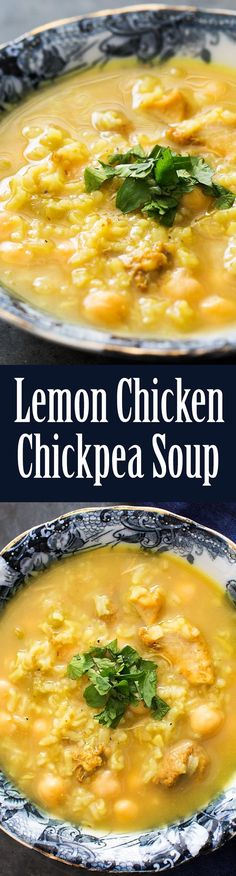 Moroccan inspired Lemon Chicken Soup with chickpeas and rice. Great spices for fighting a cold! #Easy #Healthy #Delicious On SimplyRecipes.com