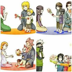 Naruto and his parents, Sasuke and Itachi and their parents, Sakura and her parents, and Kakashi and his 'kids'.>> they're giving flowers to their moms which means Kakashi is mom Naruto Team 7, Naruto Kakashi, Anime Naruto, Kakashi Face, Naruto Comic, Naruto Cute, Manga Anime, Konoha Naruto, Team Minato