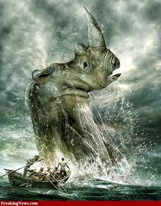 Gallery of photoshopped pictures via Freaking News Robot Picture, Cool Monsters, Rhinoceros, Beast, Funny Pictures, Lion Sculpture, Elephant, Photoshop, Statue