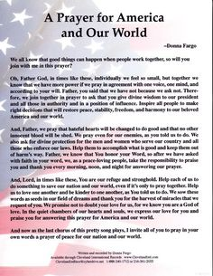 Donna Fargo-Prayer for America and Our World Prayer For Wisdom, God Prayer, Prayer Quotes, Power Of Prayer, Daily Prayer, Prayer For The Nation, Prayer For Our Country, Prayer For Church, Prayer For Family