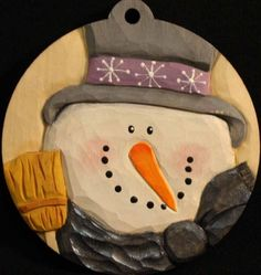 Hand Carved Christmas Snowman Ornament by WasatchWoodcarver, $35.00