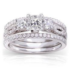 Annello by Kobelli 14k White Gold 1ct TDW Princess-cut 3-piece Diamond Bridal Set (H-I, I (Size 8.5), Women's