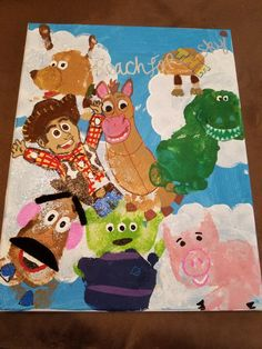 You story Infant Crafts, Baby Crafts, Baby Footprint Art, Baby Footprints, Disney Theme, Classroom, Kids Rugs, Projects, Painting