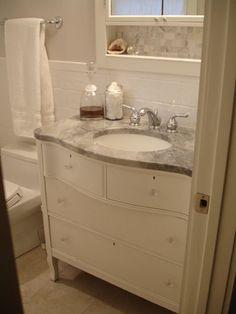 vanity w/white princess quartzite countertop