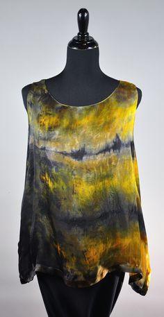 spoon painted sleeveless swallowtail in earth tones :) Itajimi over dye! SOLD
