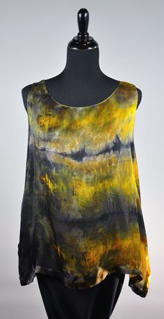 spoon painted sleeveless swallowtail in earth tones :) Itajimi over dye! SOLD
