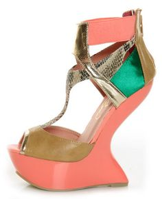 e0ba5f6e38d Privileged Blithe Coral and Tan Texture Block Heelless Platforms