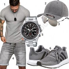 Graues Herrenoutfit mit Shirt und Jeans-Shorts Casual summer style for men with gray Amaci & Sons T-shirt, Sublevel denim shorts, Flexfit cap, aviator sunglasses, Casio Edifice men's wristwatch an Casio Edifice, Mode Man, Herren Outfit, Short En Jean, Mode Masculine, Mens Clothing Styles, Adidas Men, Sneakers Fashion, Men Casual