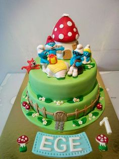 SMURFS BIRTHDAY CAKE