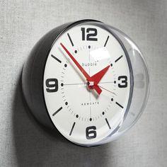 Newgate Bubble Clock, Black Body + Numbering, Large