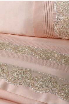 Pink Cotton Bedlinen with Lace Trim .