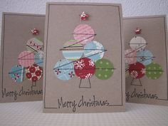 Vorig jaar ergens op het World Wide Web gezien. Vergeef me,. Diy Christmas Cards, Handmade Christmas, Christmas Decorations, Winter Christmas, Christmas Trees, Karten Diy, Winter Cards, Creative Cards, Scrapbook Cards