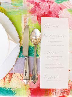 elegant place setting - photo by Nicole Berrett Photography http://ruffledblog.com/hand-painted-wedding-inspiration
