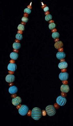 Egyptian faience and carnelian necklace I c. B.C.- IV c. A.D.
