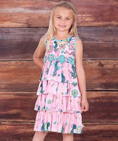 This Pink Allegria Kristi Tiered Ruffle Dress - Infant, Toddler & Girls by Jelly the Pug is perfect! #zulilyfinds