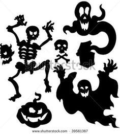 stock vector : vector set of Halloween silhouettes 1