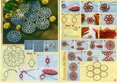 CURSO DE FRIVOLITE | Variasmanualidades's Blog Filet Crochet, Thread Crochet, Needle Tatting, Tatting Lace, Tatting Patterns, Lace Patterns, Dyi Crafts, Lace Making, Bobbin Lace