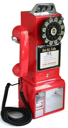 "Crosley 1950s Style Retro Mountable 18"" Red Rotary Pay Phone  --  Currently Available for purchase on eCRATER.com"
