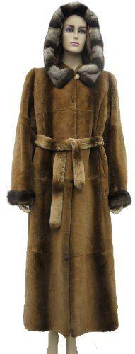Hooded Sheared Rex Rabbit Full Skin Coat with Mink Trims & Cuffs