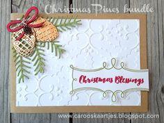 #stampinup #herfstwintercatalogus #kerstkaart #christmaspines  Kerstkaart gemaakt met Stampin' Up! producten. Christmas Pines stempelset en pretty pines thinlits stansen. De achtergrond is gemaakt met de Holly embossing folder Stampin' Up! producten zijn verkrijgbaar via Caro's Kaartjes; carooskaartjes@hotmail.nl