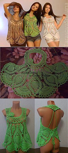 Crochet Blusas Design This Pin was discovered by Tra Crochet Tank Tops, Crochet Shirt, Crochet Jacket, Débardeurs Au Crochet, Mode Crochet, Crochet Bikini, Crochet Vest Pattern, Crochet Patterns, Crochet Bodycon Dresses