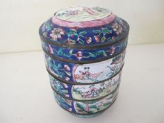 Antique Chinese Cloisonne 18/19th Century Bowls Canton Wireless Cloisonne Stacking Bowls