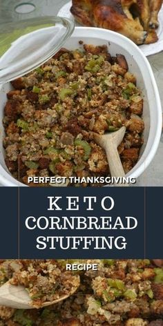 Keto Cornbread Stuffing uses all the fixings of a traditional stuffing and tastes like the real thing. Keto cornbread, onions, celery, sausage and butter baked to perfection. Make this Keto recipe for Thanksgiving, as a side side dish to home style family Keto Stuffing, Stuffing Recipes, Cornbread Stuffing, Ketogenic Recipes, Diet Recipes, Ketogenic Diet, Leptin Diet, Flour Recipes, Recipies