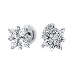18kt White Gold Flower Stud Earrings 0.90ct Diamonds EAR-3250