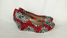 Sugar Skull shoes. sugar skull wedge. handmade and by RockYourSole